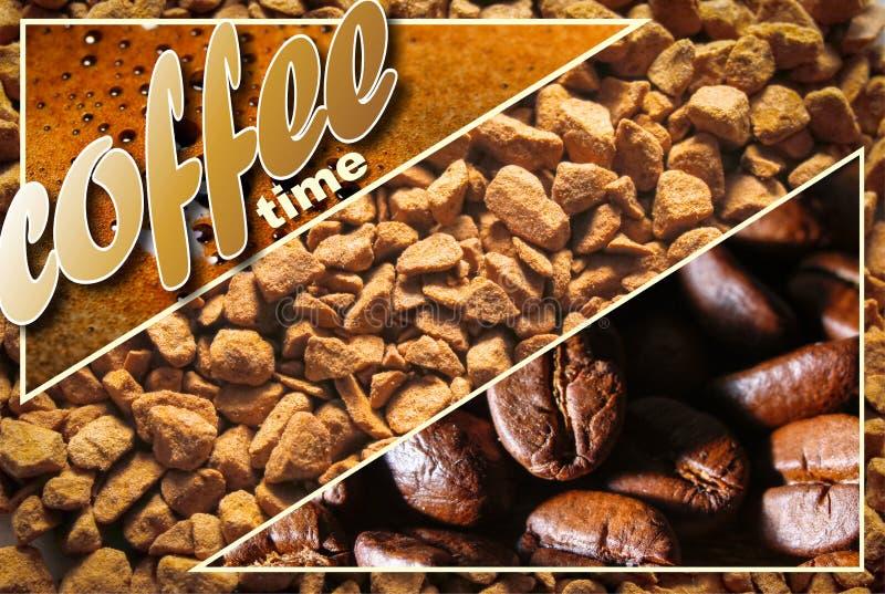 Collage con i dettagli del caffè fotografia stock