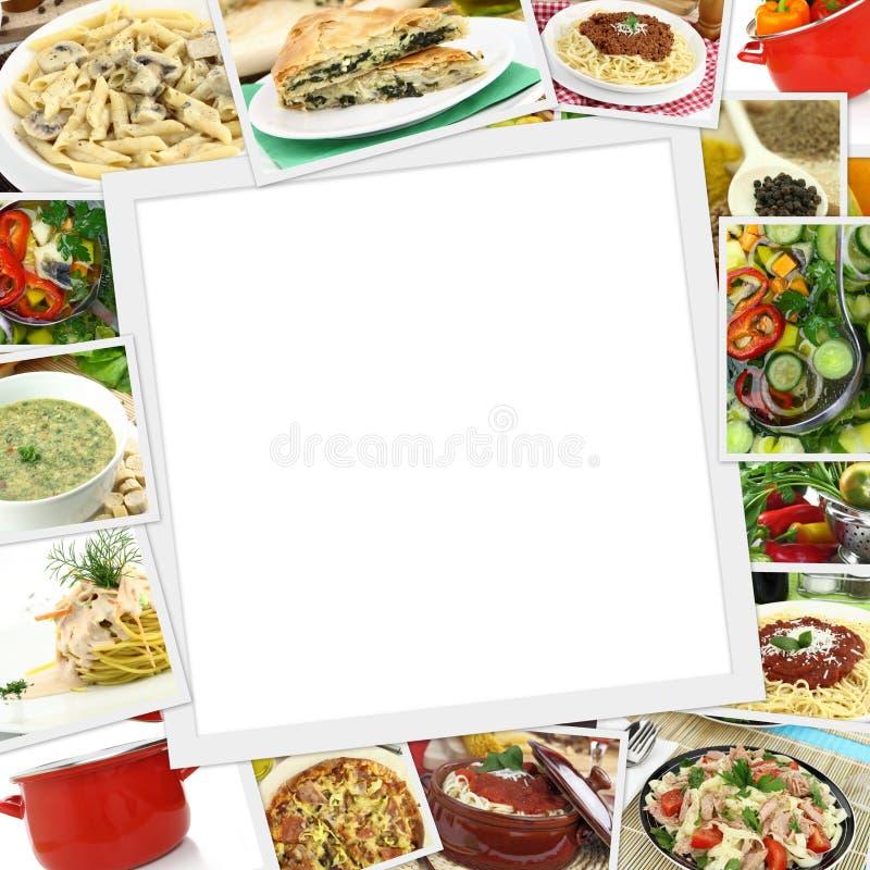 Collage con i vari piatti immagine stock