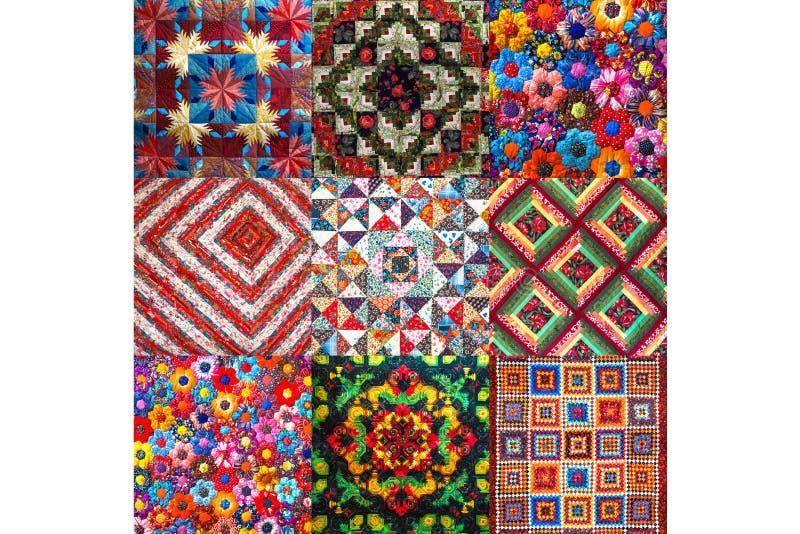 Collage con il fondo astratto di colore della tecnica di cucito della rappezzatura fotografia stock libera da diritti