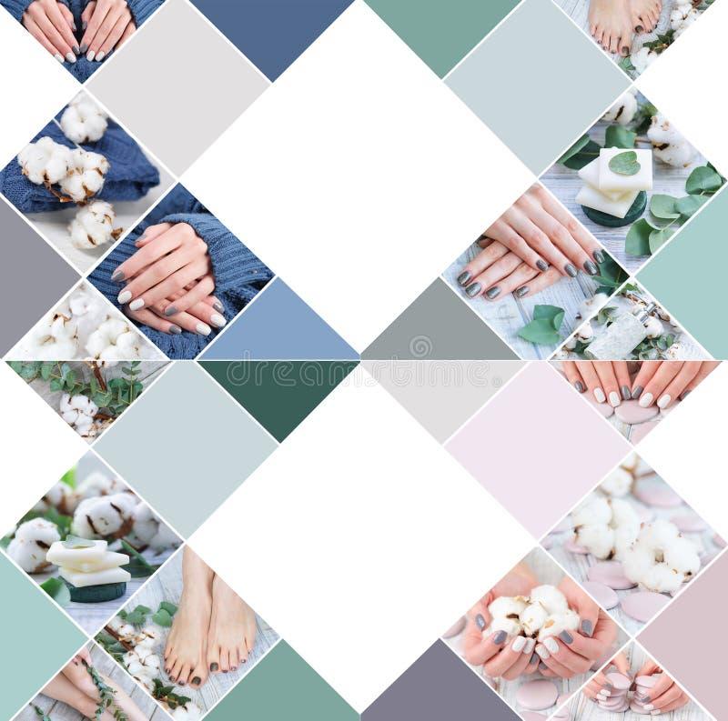 Collage con il trattamento di bellezza per le unghie del dito e del dito del piede della donna fotografia stock libera da diritti