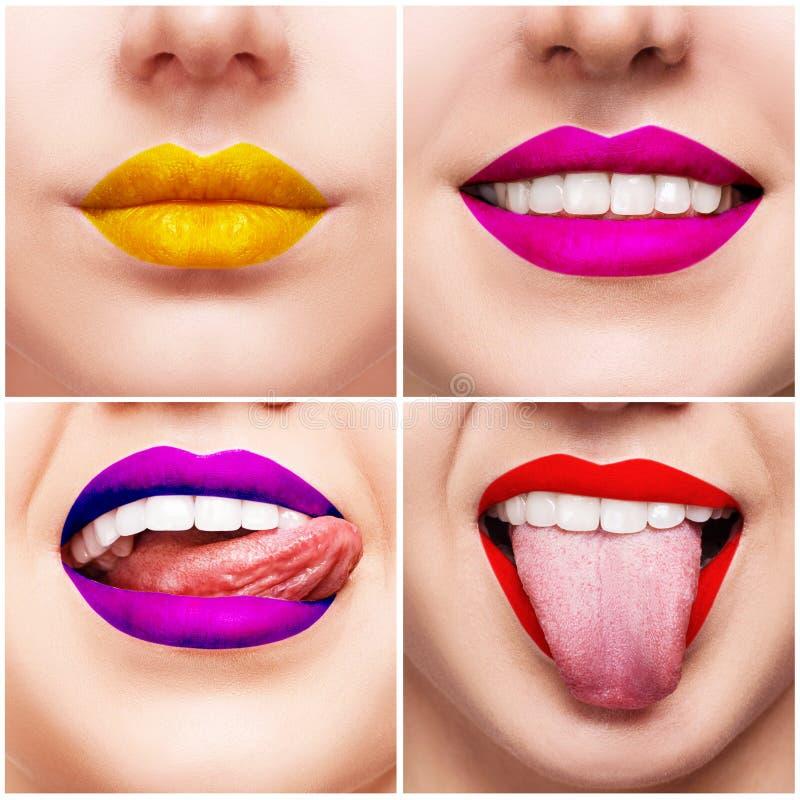 Collage con imágenes del primer de los labios coloridos de la mujer imagenes de archivo