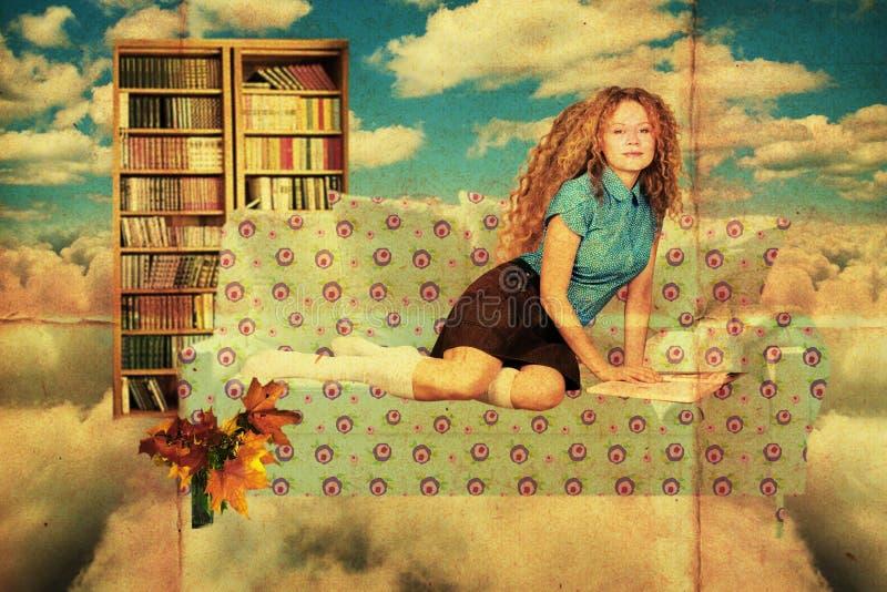 Collage con la mujer joven de la belleza, vendimia imagen de archivo libre de regalías