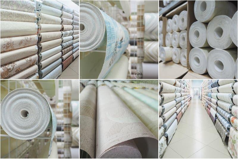 Collage con la varia carta da parati del rotolo nel deposito fotografia stock