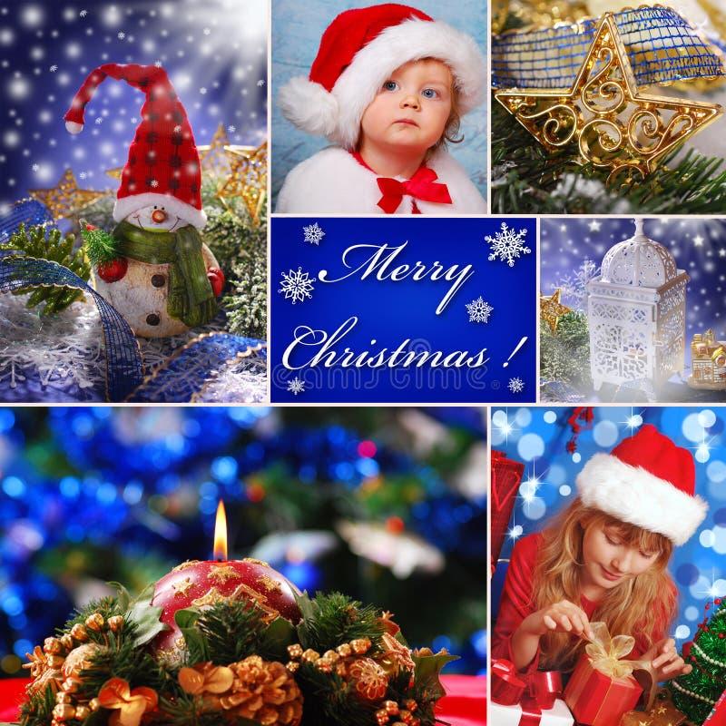 Collage con las decoraciones y los niños de la Navidad en el sombrero de santa fotos de archivo libres de regalías