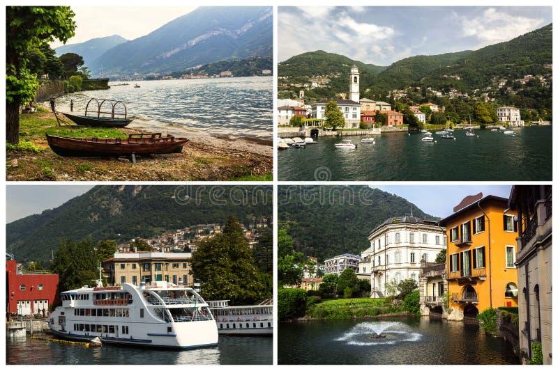 Collage con las fotos de Como, Italia imagen de archivo libre de regalías