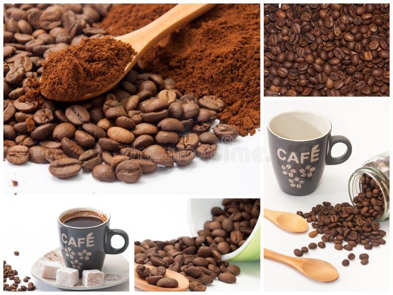 Collage con las fotos del café fotografía de archivo libre de regalías
