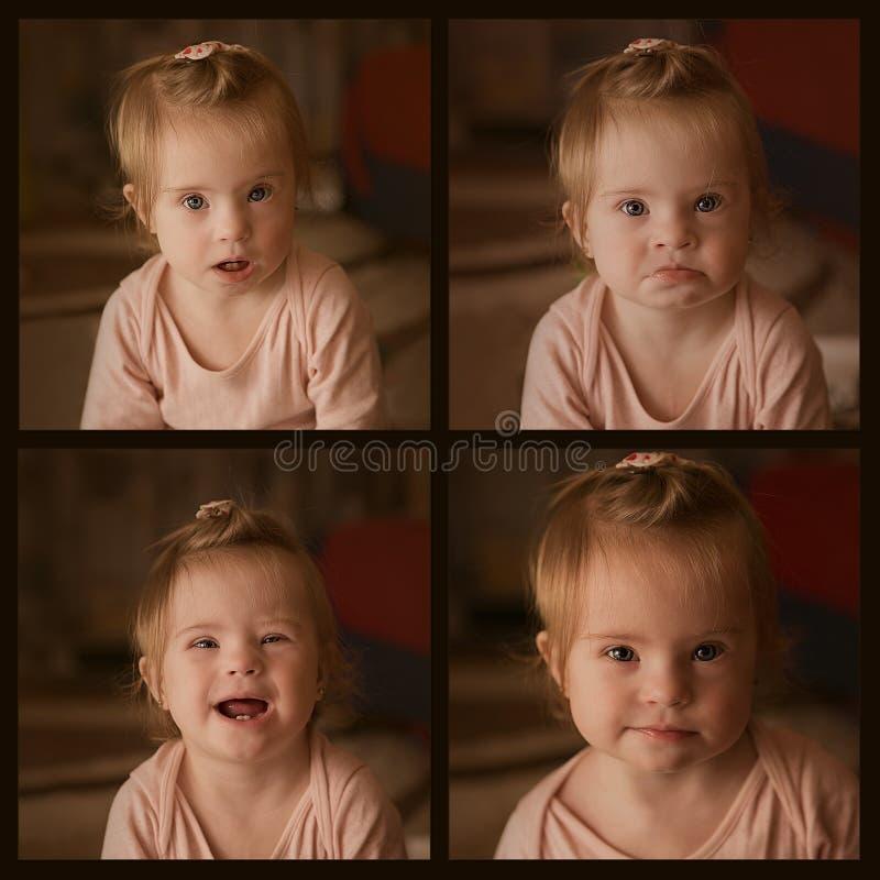 Collage con las imágenes de emociones de una niña con Síndrome de Down imagenes de archivo