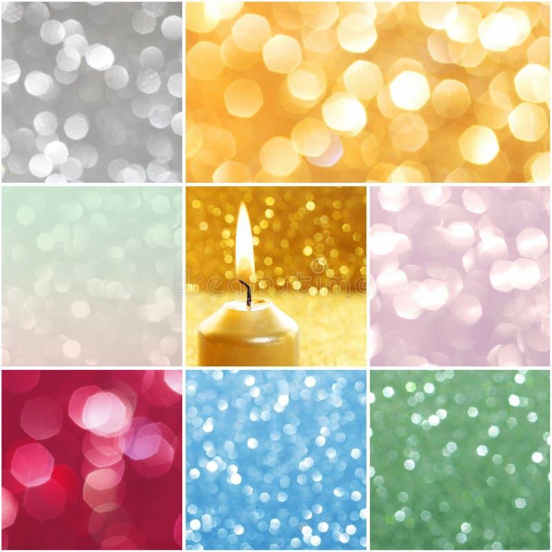 Collage con las luces de la Navidad que brillan imagen de archivo