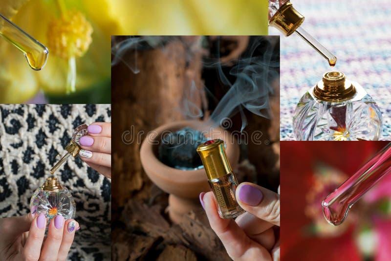 Collage con le fragranze arabe del profumo dell'essenza di oud o dell'olio del agarwood in mini bottiglie fotografie stock libere da diritti