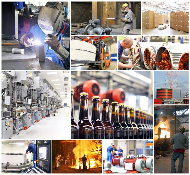Collage con le immagini dal mondo di funzionamento - industria e craf immagini stock