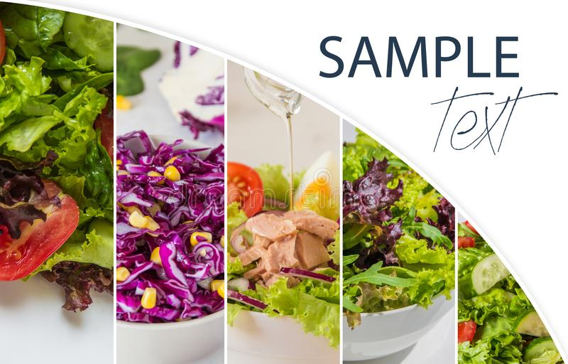 Collage con le insalate fresche, foglie verdi, verdure, tonno fotografia stock libera da diritti