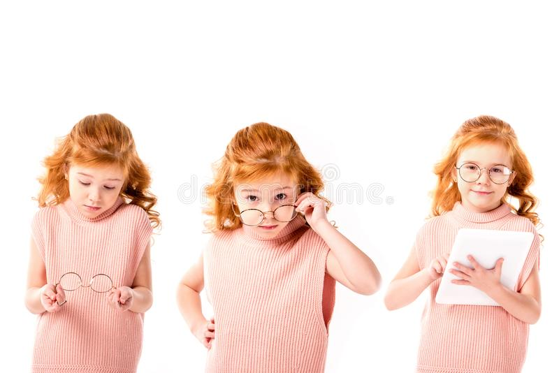 collage con lo scolaro che sta con i vetri e la compressa, fotografie stock