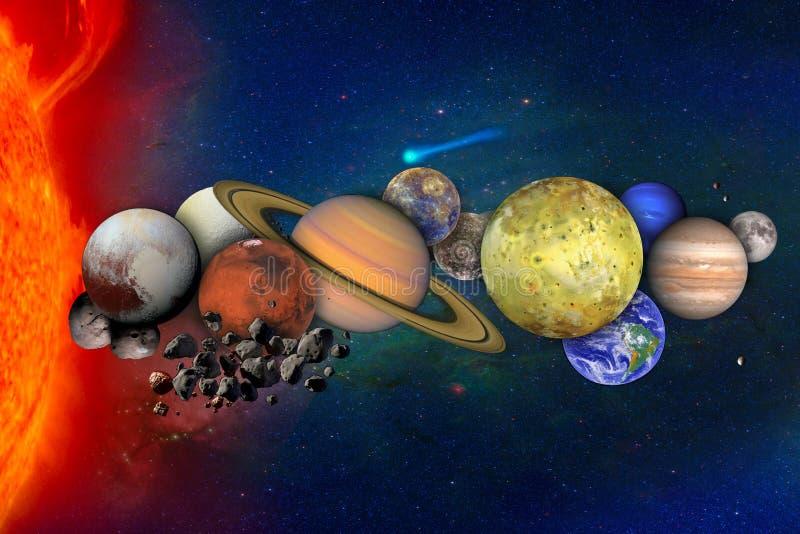 Collage con los planetas y las lunas en espacio exterior ilustración del vector
