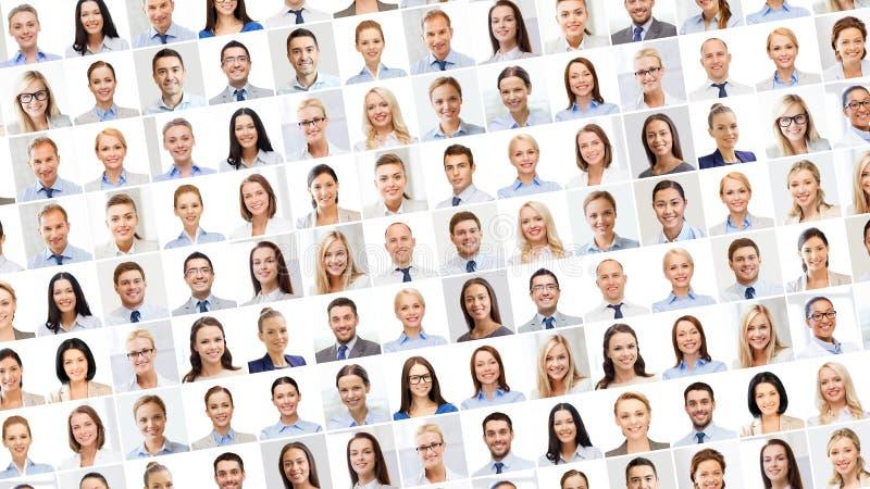 Collage con molta gente di affari dei ritratti fotografia stock
