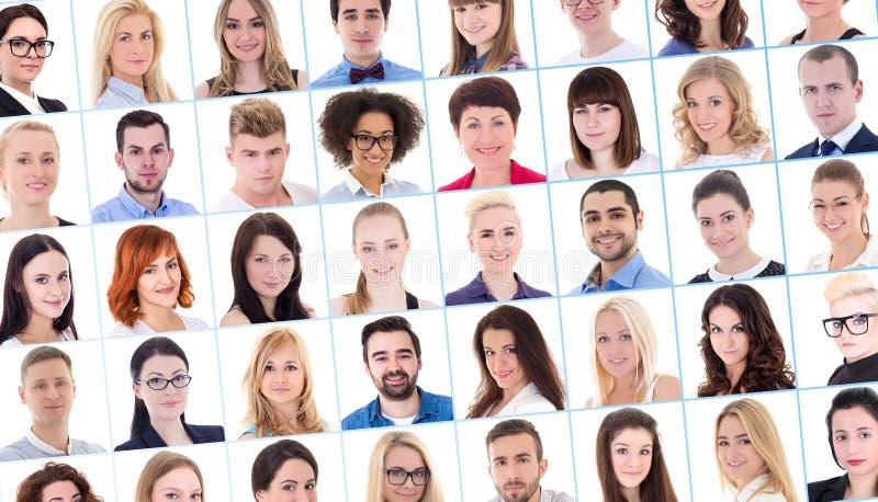 Collage con molta gente di affari dei ritratti sopra bianco fotografie stock libere da diritti