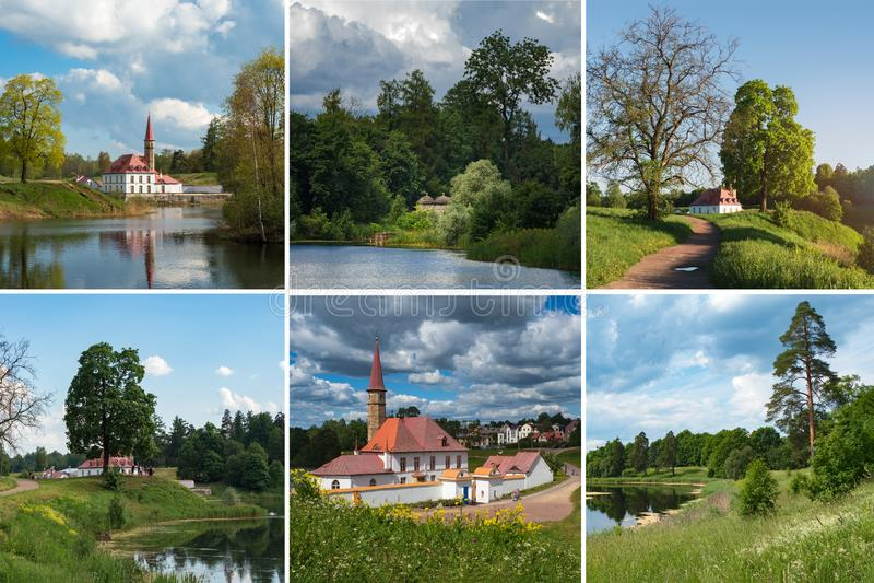 Collage con paisajes y vistas soleados del castillo viejo en la charca Rusia Gatchina imagen de archivo libre de regalías