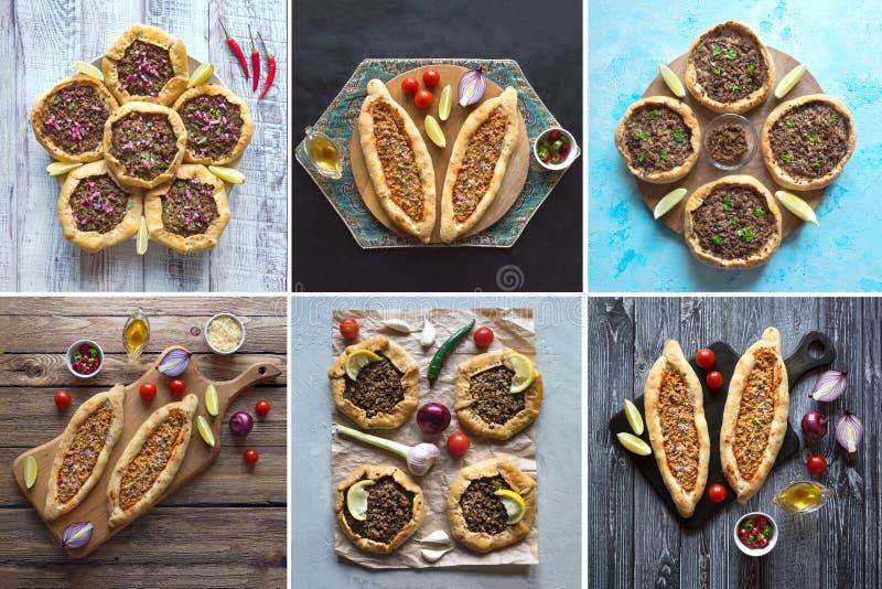 Collage con pizza araba Lahmacun Vista superiore fotografia stock libera da diritti