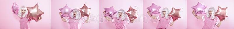 Collage con una giovane donna allegra su un fondo rosa fotografia stock