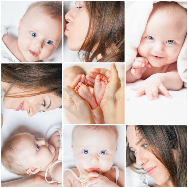 Collage con varias fotos de la madre y de su bebé fotos de archivo