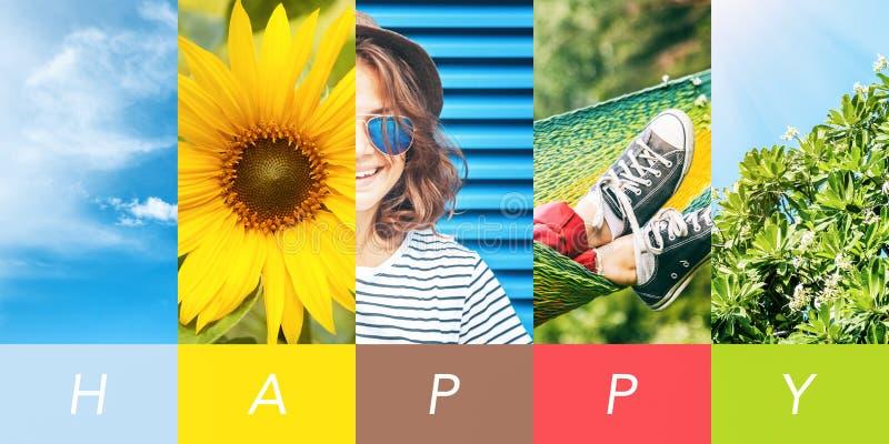 Collage concettuale, vacanze di stile di vita di libertà di felicità di estate Una collezione di immagini verticali per la vostra immagini stock libere da diritti