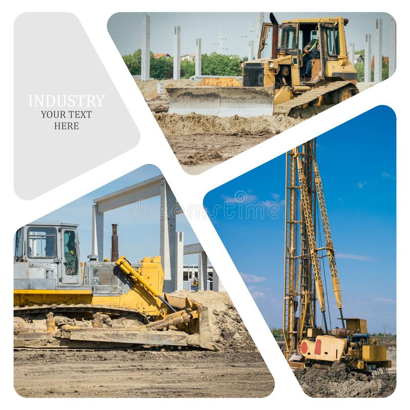 Collage of construction machinery. On the construction site stock images