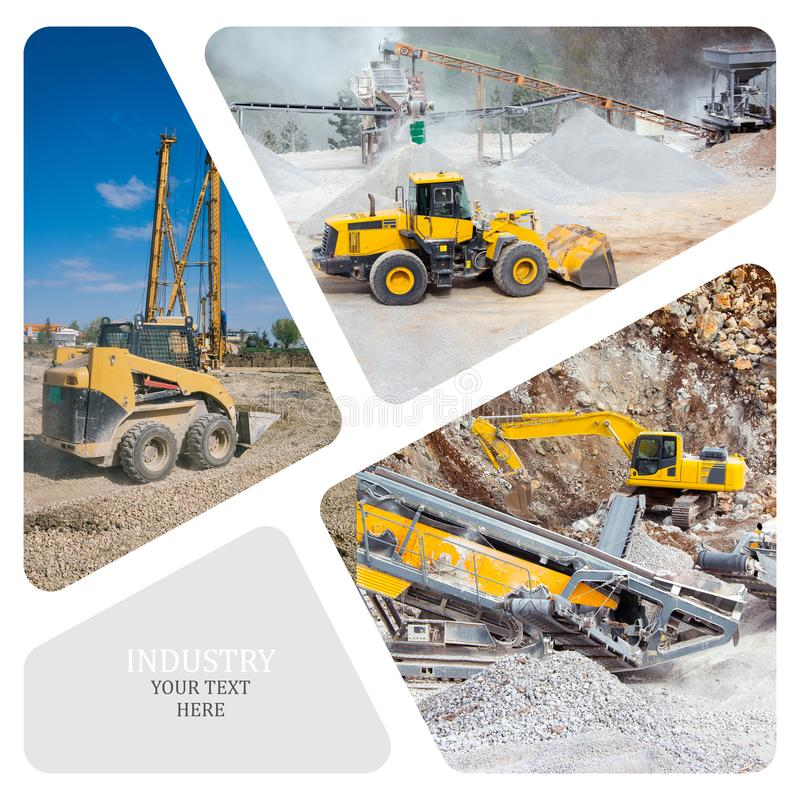 Collage of construction machinery. On the construction site royalty free stock image