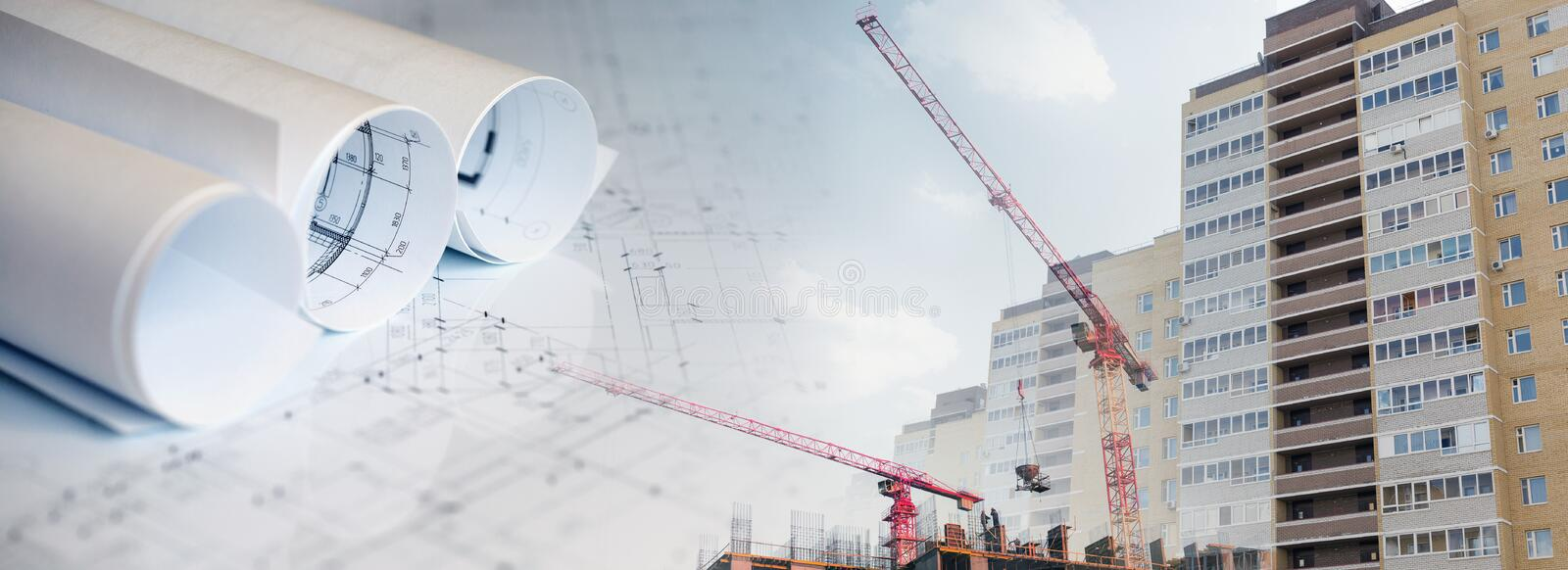 Collage with construction plans, cranes. And buildings royalty free stock photography