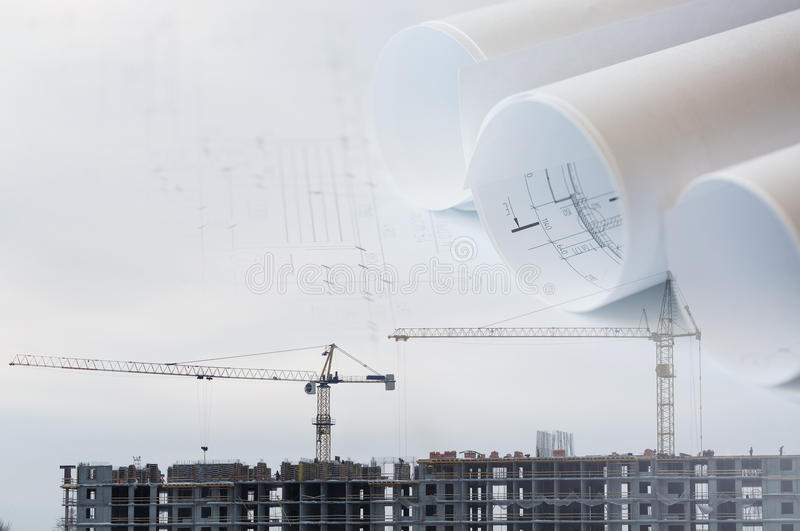 Collage with construction plans, cranes. On a construction site stock photography
