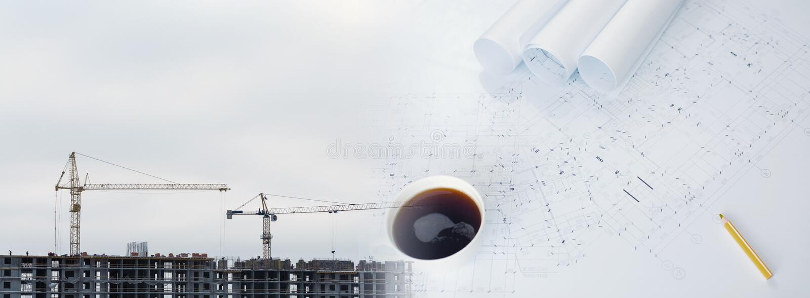 Collage with construction plans, cranes. On a construction site stock images