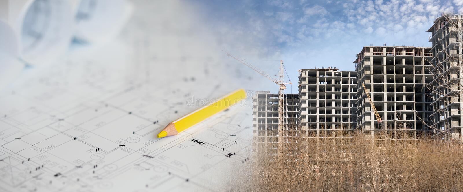 Collage with construction plans and a modern building. Collage with construction plans and a modern office building royalty free stock photo