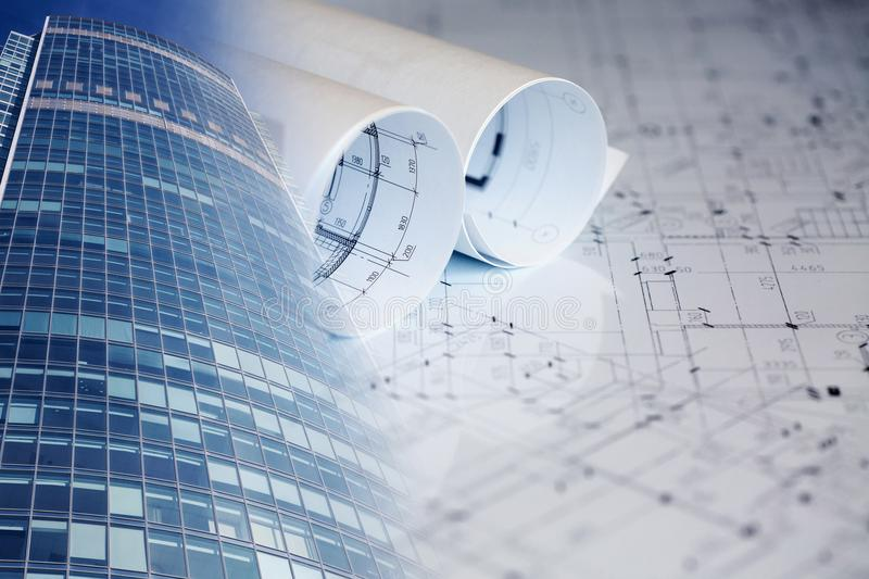 Collage with construction plans, buildings. Collage with construction plans and modern buildings stock image