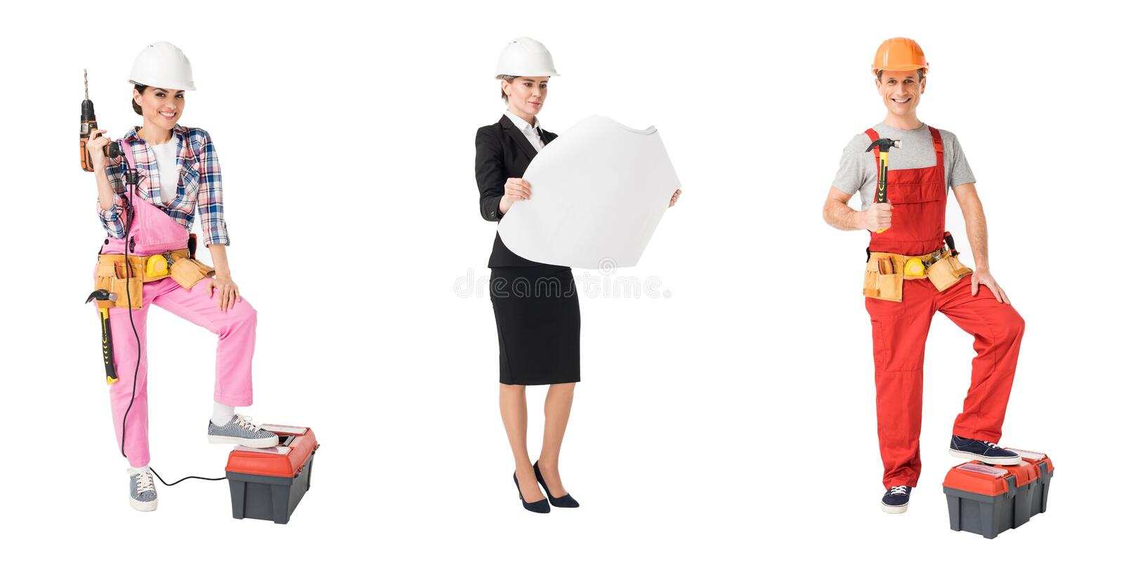 Collage with construction and repair professions workers. Isolated on white stock photo
