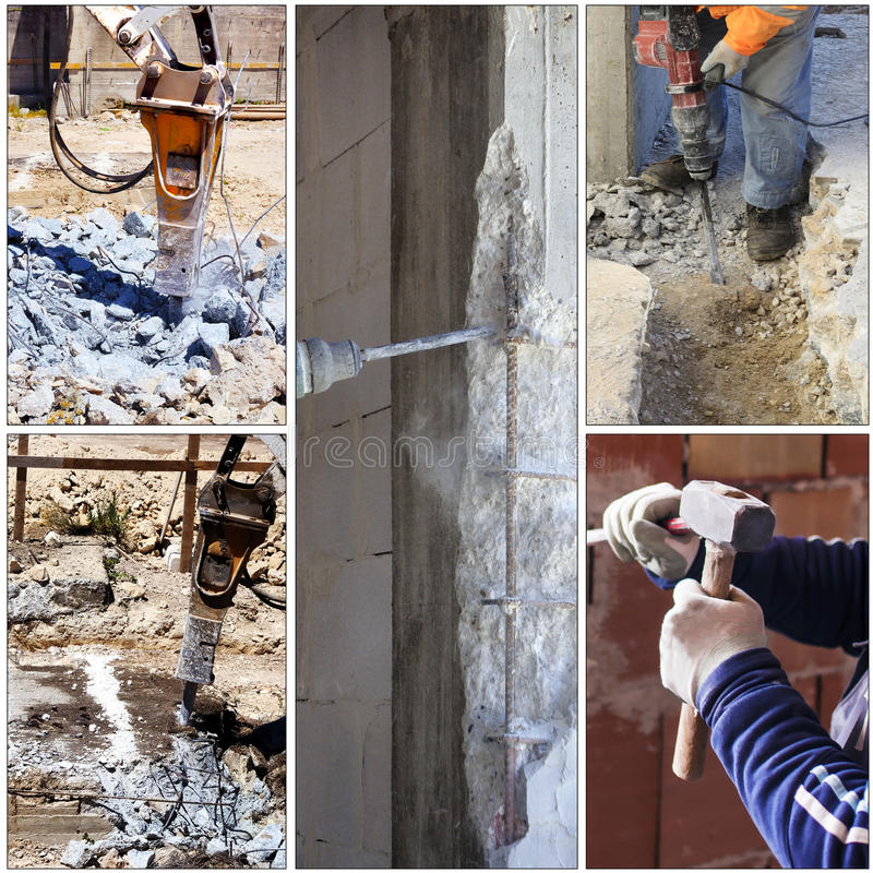 Collage construction site. Demolition of reinforced concrete structures with demolition or by hand with chisel stock photography