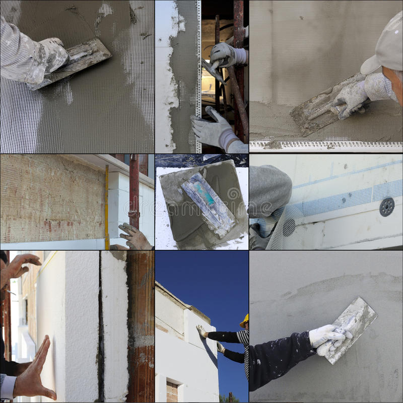 Collage construction site. Installing external insulation Facade therm stock photography