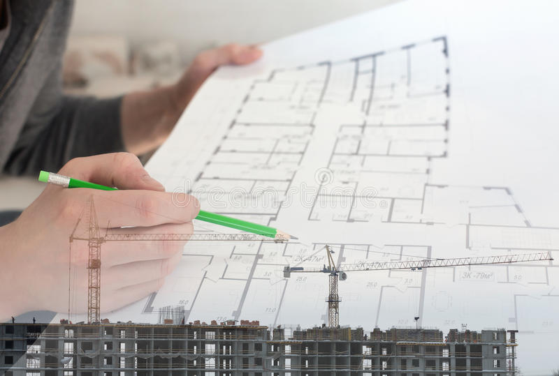 Collage with construction worker holding construction plans. And construction site stock photography