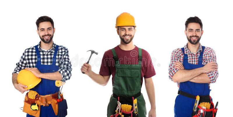 Collage of construction worker in uniform with different tools on. White background royalty free stock images