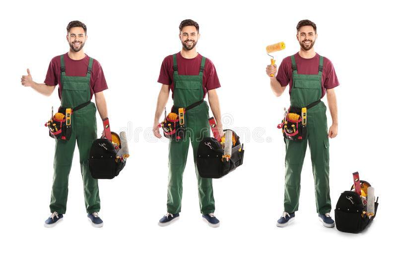 Collage of construction worker in uniform with different tools. On white background royalty free stock photos