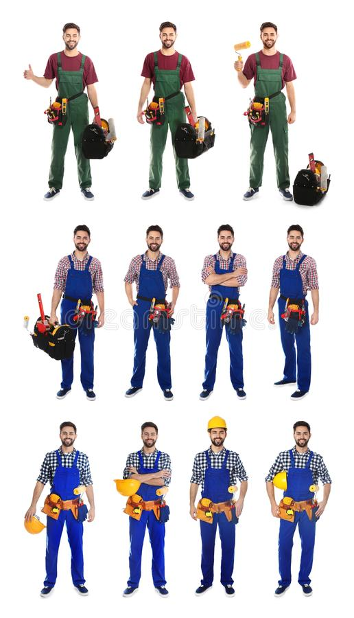 Collage of construction worker in uniform with different tools. On white background stock photography