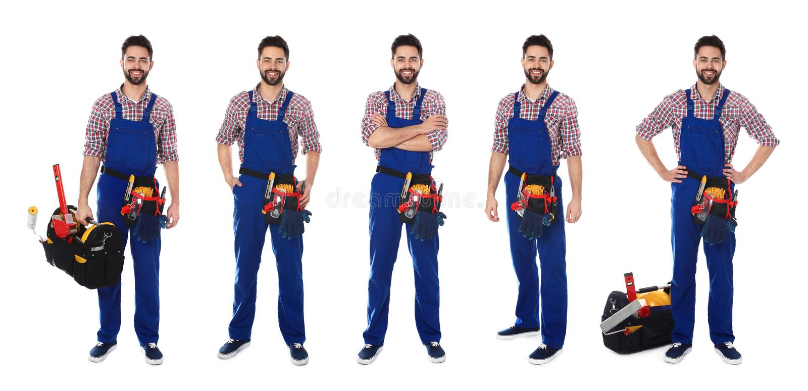 Collage of construction worker in uniform with different tools. On white background royalty free stock photo