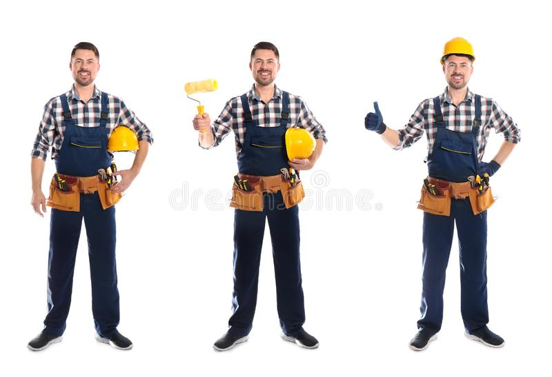 Collage of construction worker in uniform with different tools on white. Background stock photo
