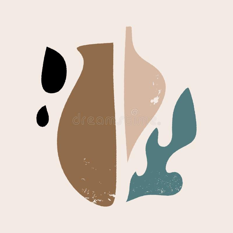 Collage contemporáneo, modelo floral abstracto de las formas Impresión exótica moderna Ilustraci?n del vector ilustración del vector