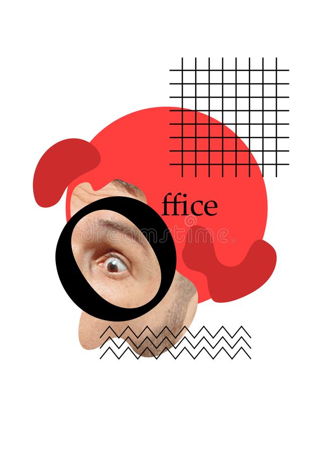 Collage contemporain d'art moderne au sujet d'homme d'affaires illustration de vecteur