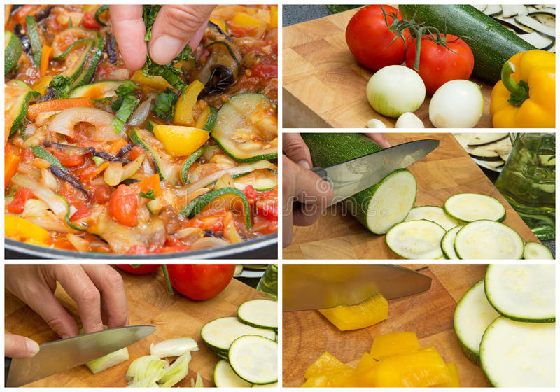 Collage of cooking Ratatouille. Collage showing cooking the typical Provencal meal - Ratatouille royalty free stock photo