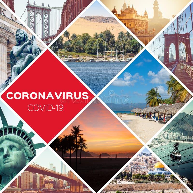 Free Collage Coronavirus Covid-19 World Epidemic. Quarantine. Stop Travel. Stay Home. Travel Restrictions. World Travel Destination Stock Photo - 179028890