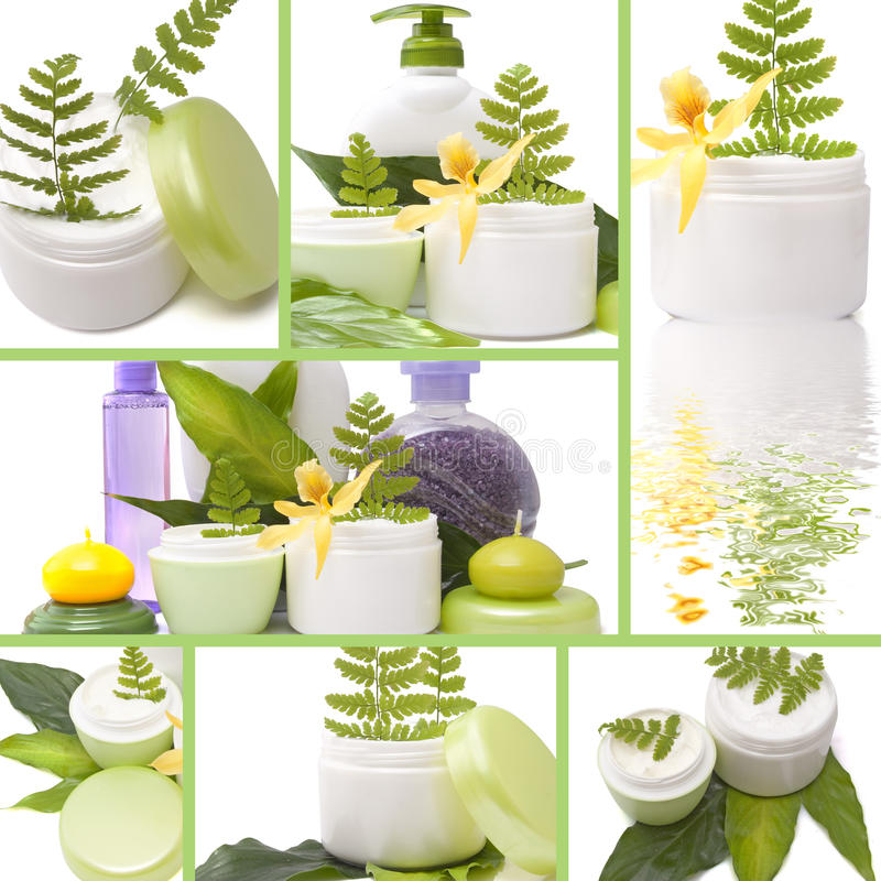Collage of cosmetic products stock photo