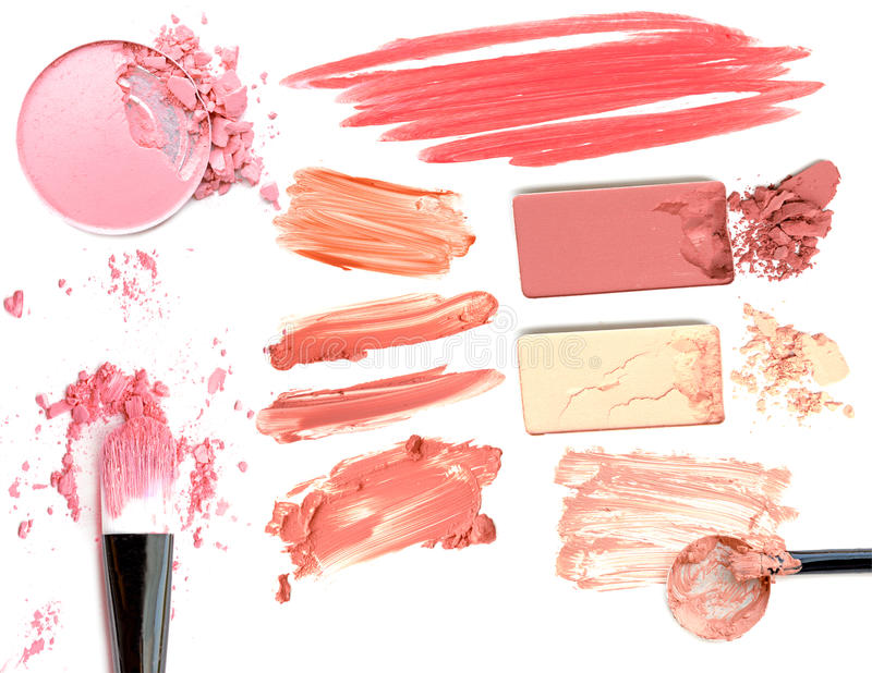 Collage of cosmetics foundation powder on white background. Beauty and makeup concept.  stock images