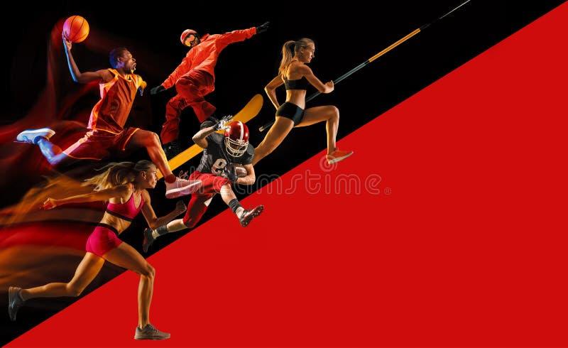 Collage créatif de sportifs dans l'action photo libre de droits