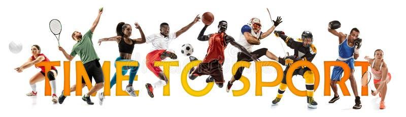 Collage créatif de sportifs dans l'action Heure de fol?trer image stock