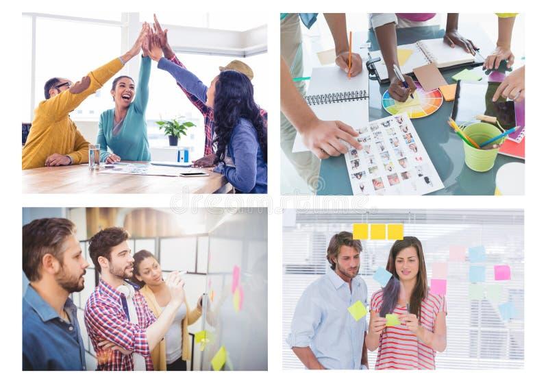 Collage creativo de la reunión del trabajo en equipo fotos de archivo