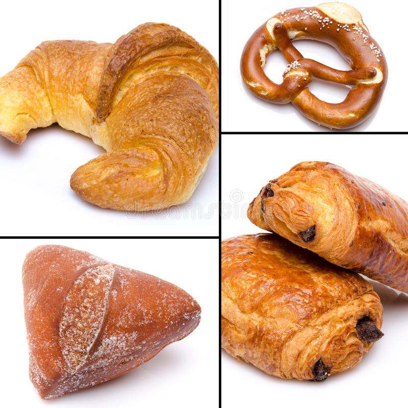Collage of croissant, bretzel and beignet. On white royalty free stock photography